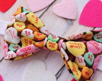 Valentine's Day Conversation Hearts Fabric Bow Headband, Candy Conversation Hearts Bow, Clip or Headband