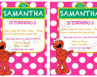 Boy/Girl Printable Elmo Invitations