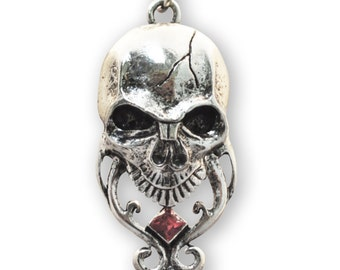 Tribal Skull with Red Crystal Silver Finish Pewter Pendant Necklace NK-468