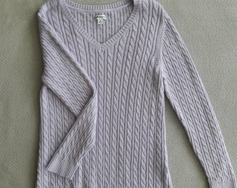 Lilac Purple Cable Knit Sweater