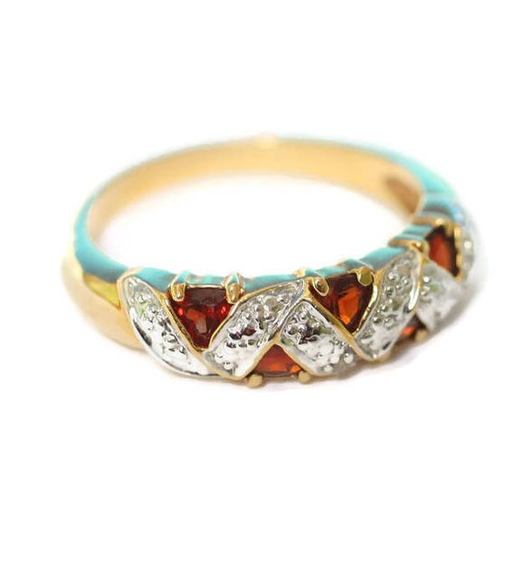 Garnet Ring Diamond Accent Gold Plated Size 8 Plus Cocktail Dinner Evening Wear