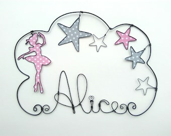 """Name wire personalized cloud """"a dancer amongst the stars"""" nursery wall decor"""
