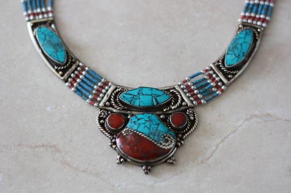 TIBETAN NECKLACE - Statement Necklace - Coral - Turquoise - Nepalese - Buddhist - Mandala Necklace - Tibetan Jewellery- Semi Precious - Gift
