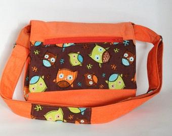 Children's messenger bag - Orange shoulder bag - Owls crossbody bag - Orange handbag for kids