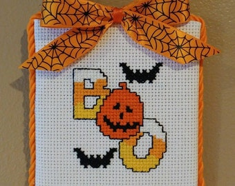 "Finished Cross Stitch "" Halloween, BOO! """
