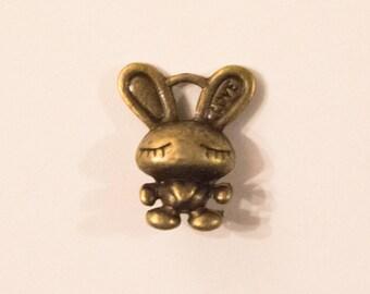 Bunny charm asleep, bronze