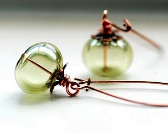 Sage Green Earrings, Pastel Jewelry, Copper Earrings, Nature Jewelry, Garden Wedding, Woodland Earrings, Summer Wedding - Water Sprite