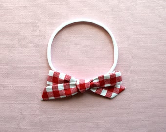 Red White Plaid Fabric Bow Headband Photo Prop for Newborn Baby Little Girl Child 4th of July Picnic in the Park Bow for Little Girls