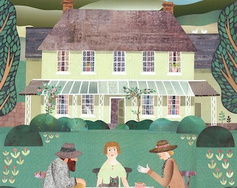 Bloomsbury Set Print·Naive Art·Virginia Woolf·Carrington·Country Garden·Tea Party·Wall Art·Conversation Piece·Collage·England·Country House