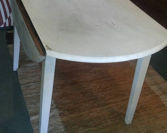Shabby Chic Nordic White Circular Drop Leaf Table