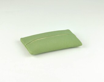 PU Leather Pocket Tissue Holder with Pattern, Travel Tissue Holder, Portable Tissue Case, Tissue Pouch, Soft Touch, Green