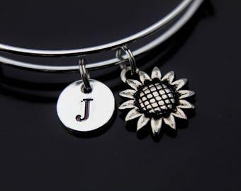 Gardening Gift Sunflower Bracelet Silver Daisy Charm Bangle Sunflower Charm Flower Jewelry Personalized Bracelet Initial Charm