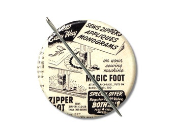 Magic Foot vintage Ad needle minder magnet cross stitching cross stitch keeper sewing notion wife gift stocking stuffer Pattern holder
