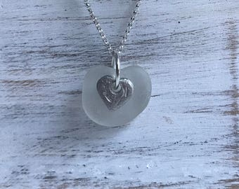 white frosted Maine Atlantic sea glass heart necklace, sea glass heart necklace, sea glass necklace, beach wedding, bridal wedding necklace