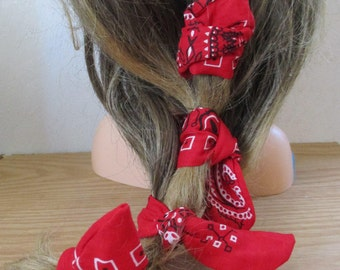 Dread Wraps, Hair Curlers,  RED Bandana Print, Ponytail Wraps, Dread Accessories, Wired Dread Holders, Hair Accessories, Set of 4   #179