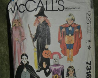 Vintage Sewing Pattern McCall's 7316 Child's Halloween Costume Pattern Princess Witch Superhero Vampire Dracula Alien Robot and Bride Large