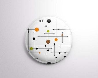 "Eames style dots | 1"" One Inch Magnet OR pinback button badge pin | vintage midcentury modern motif brown orange olive"