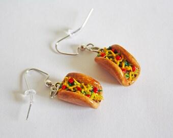Taco, Miniature Food, Polymer Clay Charms, Food Earrings, Kawaii Earrings, Cute Earrings, 21st Birthday Gift, Polymer Clay Jewelry, Tacos