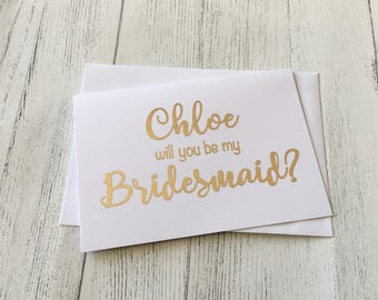 Will you be my Bridesmaid card, personalised Bridesmaid proposal card, Bridesmaid Thank you card, Maid of Honour card