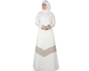 MyBatua Frauen Samaira Gebet Weiß Abaya online, Jilbab, Baumwolle Burka, islamische Kleidung, muslimische Frauen tragen während Hajj AY362