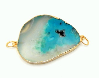 Teal Agate Slice Double Bail Pendant Connector with Electroplated 24k Gold Edge DSA (S85B2-07)