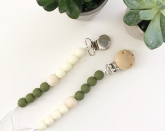 Silicone Teething Pacifier Clip/ Silicone Soother Clip/ Silicone Beads/ Teether Clip /Beaded Clip / Teething/ Natural Wood