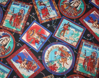 2 1/2 Yards Native American Western Cowboy Collage Images Cotton Quilting Fabric