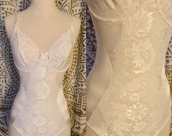 VTG Lace White Nylon PLAYTEX Negligee Bodysuit Bridal Lingerie 34C