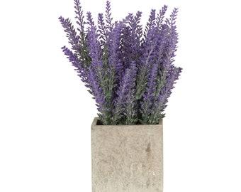 Artificial Purple Lavender Potted Plant and Grey Stone Vase - W 16 cm / D 16 cm / H 29 cm