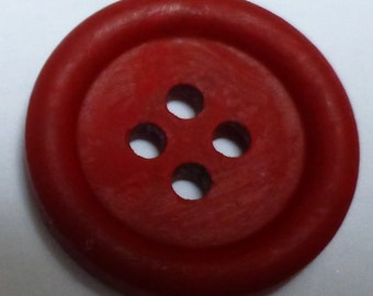 Small round hand painted wooden buttons – Red