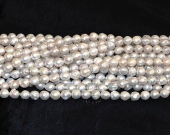 "Kasumi like Freshwater Pearl white silver 9-9.5mm Baroque - 16"" Strand"