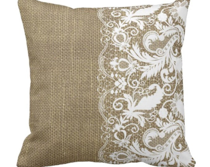 Throw Pillow Design Burlap and Lace Cottage Style