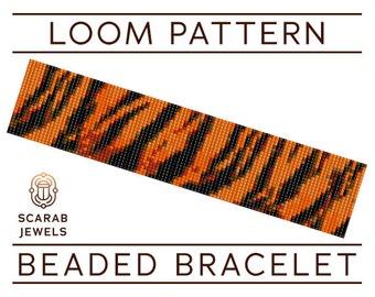 Tiger Stripes Pattern | Loom Beading Bracelet | Cuff Bead Pattern | Miyuki Delica | PDF Instant Download