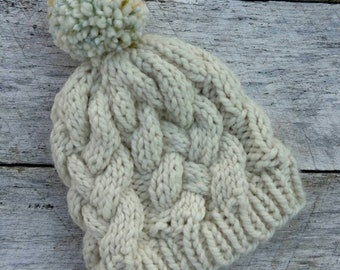 Squishy wool knit hat. Woven cable beanie. Finished product. Women's/tweens winter hat. Yarn pompom toque. Cream chunky winter hat.