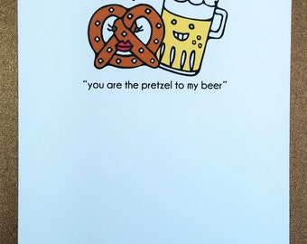 Pretzel and Beer Love Greeting Card