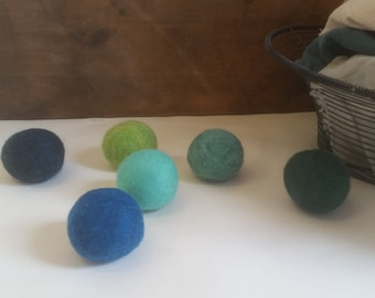 Wool Dryer Balls, set of 8 Trees and Seas, Free Shipping to USA  ( as seen in GRID magazine)