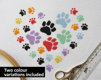 Paw print heart cross stitch pattern, modern gift for dog lover, cat owner, rainbow bridge, pet memorial, girl, boy, baby, animal chart, PDF