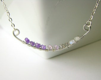 Ombre Necklace with Semi Precious Stone and Gemstones Wire wrapped onto a Hammered Stainless Steel Pendant
