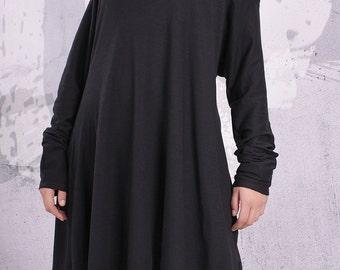 Plus size tunic,loose tunic, maternity top, tunic dress, long sleeved top, black tunic,black top,tunic with collar,maxi tunic- UM-F002-FL