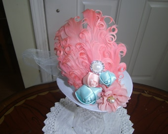 Girls Mini Top Hat, Fascinator, Handcrafted,Costumes, Peach,teal Hat, Tea Party, Birthday Party,Bridesmaid Hat, Prom headpeice, Photo Prop