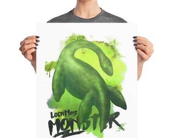 Loch Ness Monster Watercolor Poster, 8x10, 16x20, Monster Decor, Prehistoric Print, Kids Room
