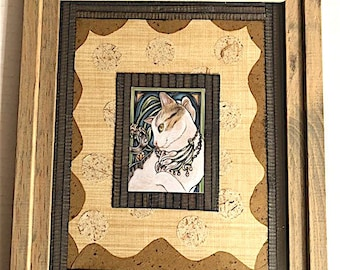Art Nouveau Cat Textured Paper Collage Art (with Frame)