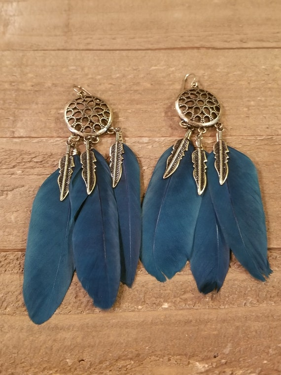 Teal Feather Dream Catcher Base Drop Down Dangle Native American Earth Jewelry Hippie Boho Natural Style (E141)