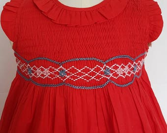 Gorgeous Hand Smocked and Embroidered Red Christmas Dress - Size 0-3 months, 3-6 months and 6-9 months