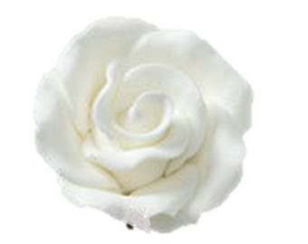 "1"" White Rose with Calyx Leaves Flower - Set of 3 Gumpaste 103106"