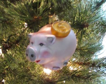 Piggy Bank Ornament  - Blown Glass Pink Pig Bank Christmas Ornament – Pig with Gold Coin Ornament - Vintage Blown Glass Tree Ornament