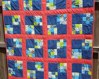 Handquilted throw size quilt