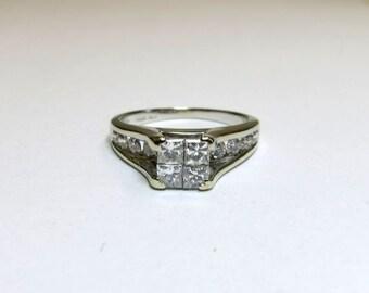 diamond engagement ring princess cut and round diamonds wg 14k