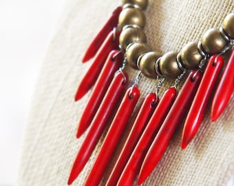 red spiky necklace with brass and grey cotton jersey // red hot chili peppers //