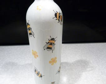 Bee and flowers Upcycled decoupage bottle, cork led lights which can be reomved. Wedding/Birthday/Christmas